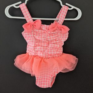Neon pink & white checkered one piece swimsuit